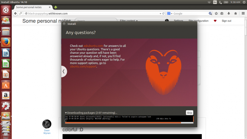 Installing the same #Ubuntu #Utopic daily image on my #Thinkpad. Graphics were glitchy, but...