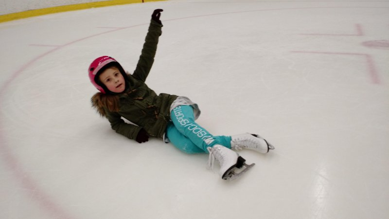 "Went ice skating today,  and every time Nadia fell she would strike a pose and say ""Ta-daaaa"".  Genius. Now every fail is a successful new trick."