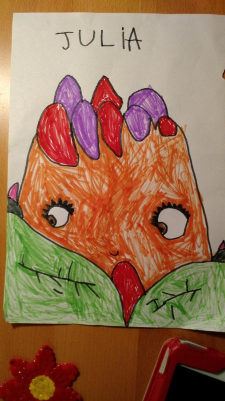 My Julia,  4 years old just drew this, and it's pretty obvious she has a talent. Now....  how do I cash in? :)