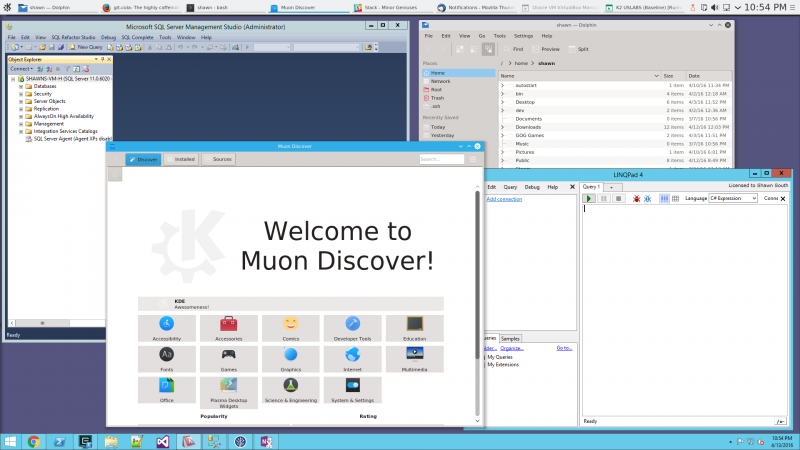 Woah! VirtualBox's Seamless Mode is blowing my mind - Windows apps alongside Linux on the same screen!