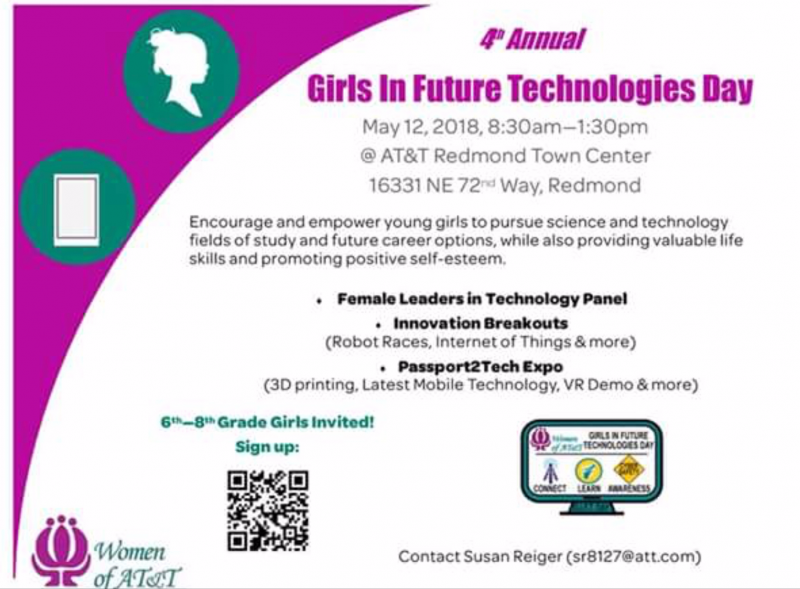 Event: Girls in Future Technologies Day.  May 12th, 2018.  Redmond Town Center.