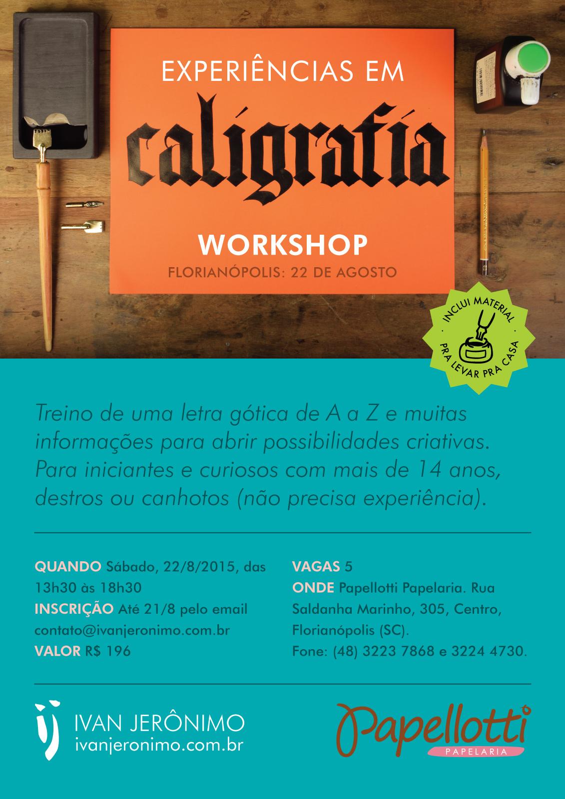 Poster do curso Experiências em Caligrafia