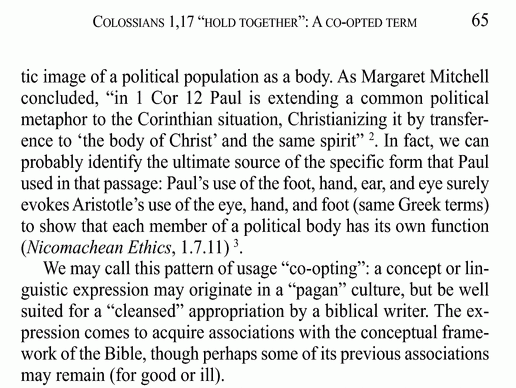 "Scripture ""co-opts"" pagan concepts via cleansed appropriation"