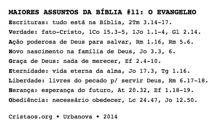 Maiores assuntos da Bíblia no. 11: O evangelho