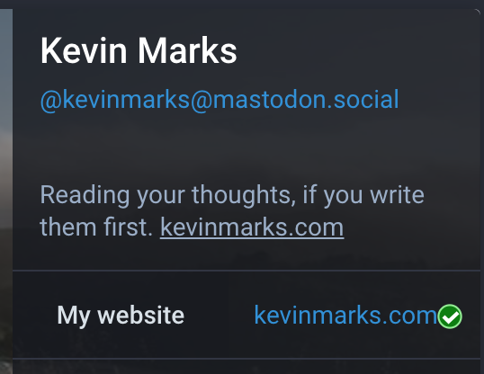 Mastodon now supports rel-me links for distributed verification. Shame Google plus broke them and twitter needs a hack #indieweb