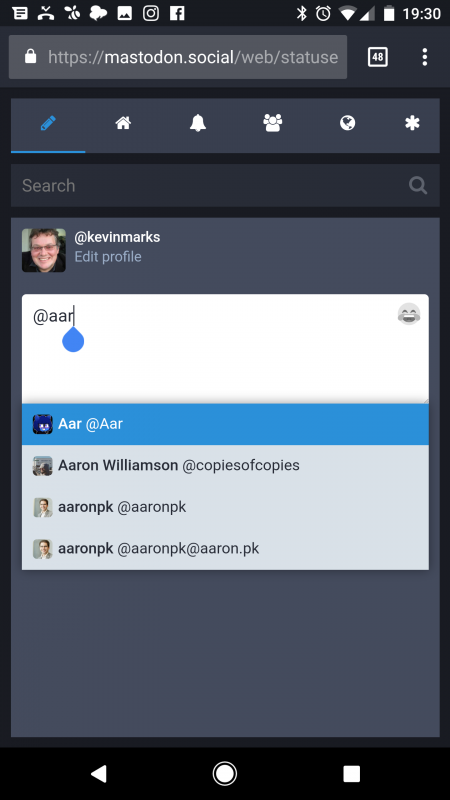 Autocomplete of @ names on mastodon.social for aaronpk.com #indieweb
