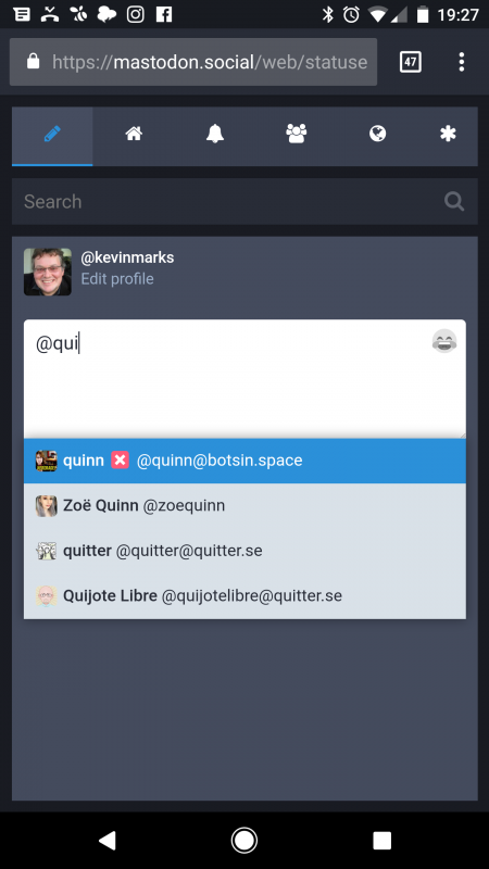 Autocomplete of @ names on mastodon.social #indieweb
