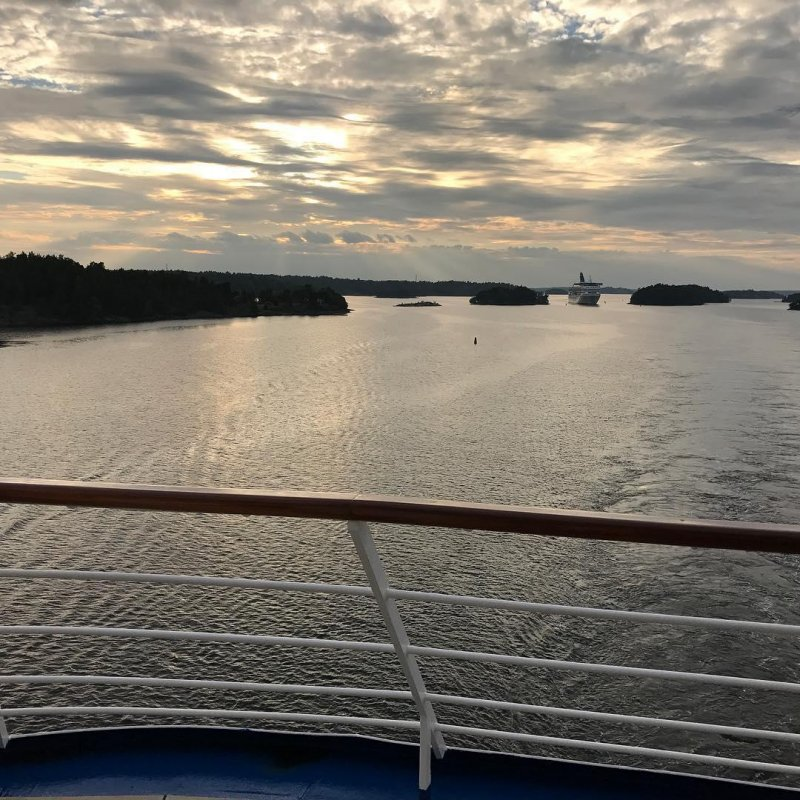 The view from our deck as we sail out of Stockholm.