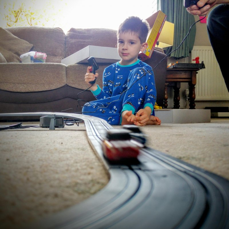 Scalextric with the boy