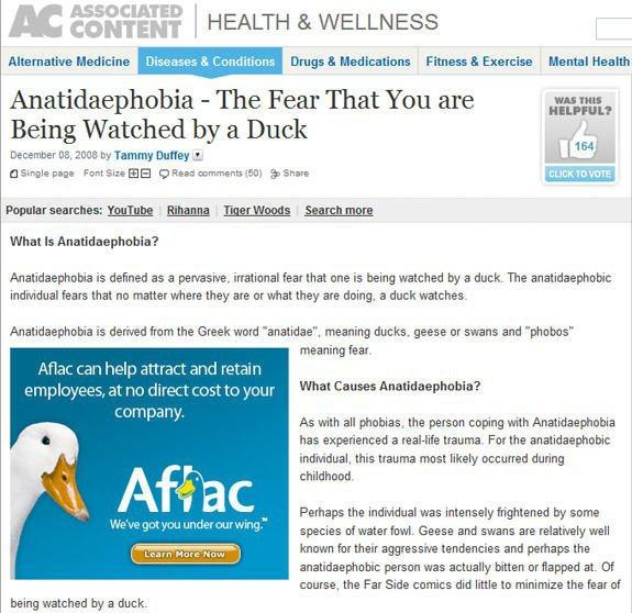 Anatidaeiphobia - the fear that you're being watched by a duck #AmazingContextualAdPlacement