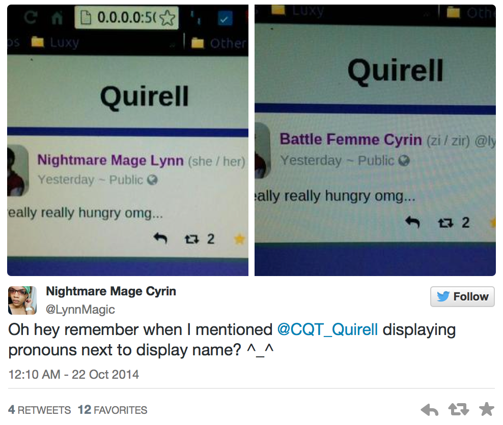Oh hey remember when I mentioned @CQT_Quirell displaying pronouns next to display name?